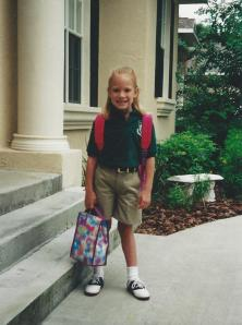 My first day of first grade! (I'm wearing the Hello Kitty backpack.)